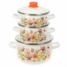 Набор эмалированной посуды Лилии  (кастрюля 1.5+2+4 л)